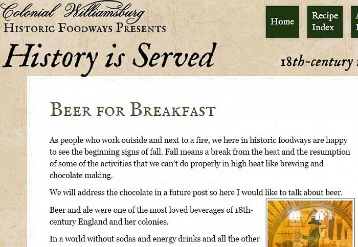Colonial Williamsburg History is Served blog post screenshot