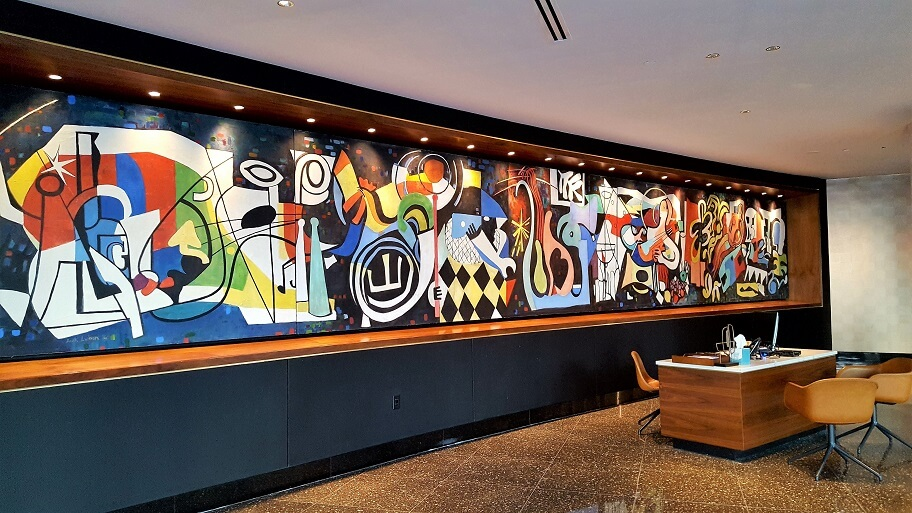 Colorful mural by Jack Lubin 1956 lobby of midcentury modern Statler hotel downtown Dallas TX (photo by Sheila Scarborough)