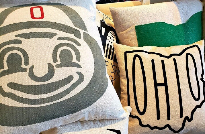 Trails in Columbus Ohio include Celebrate Local in Easton The Ohio State University and state of Ohio pillows on Columbus Made in CBUS Trail (photo by Sheila Scarborough)