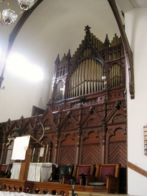 Original Steere and Turner organ in the Greenstone Church, Pullman Historic District, Chicago's Southland area (photo by Sheila Scarborough)