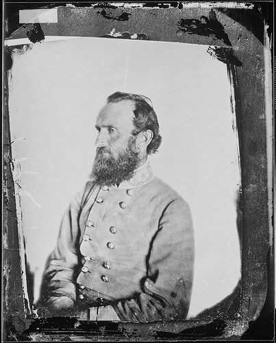 Confederate General Stonewall Jackson taken in 1863 by Mathew Brady (courtesy US National Archives on Flickr Commons)