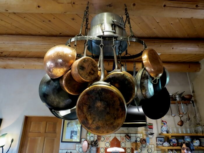 Pots and pans in Chris Maher's kitchen at his Cooking Studio Taos in New Mexico