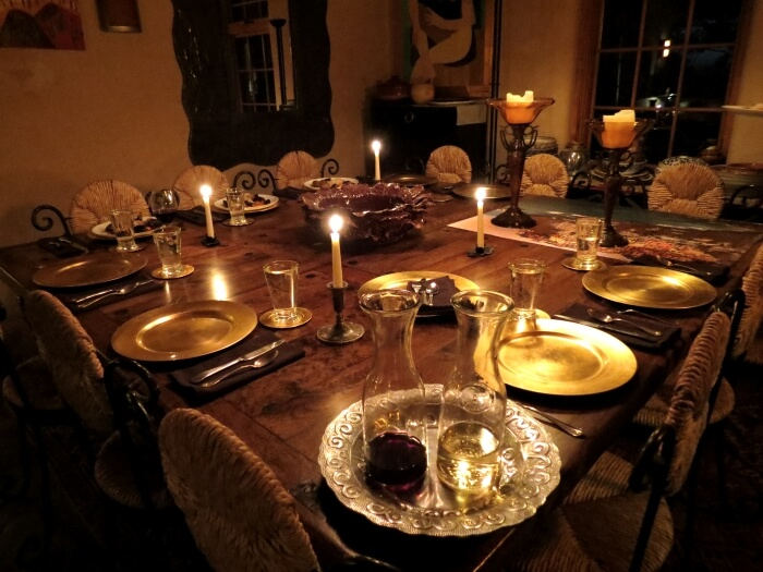 The dining table at Chris Maher's home and Cooking Studio Taos in New Mexico