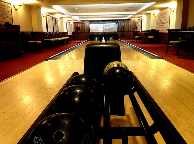Cozy bowling alley downstairs at the Hotel Pattee in Perry Iowa photo by Sheila Scarborough