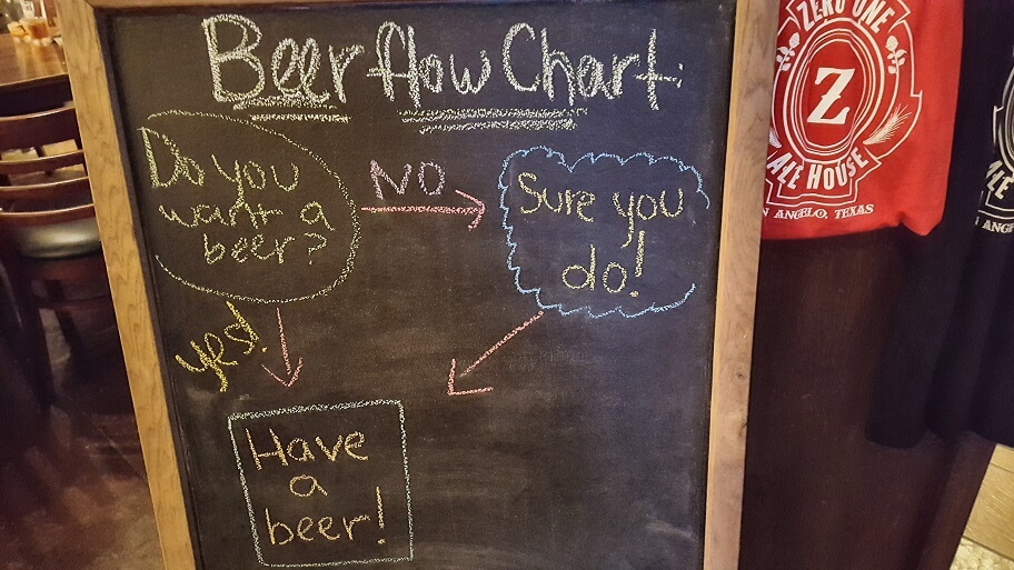 Craft beer flow chart Zero One Ale House San Angelo Texas (photo by Sheila Scarborough)
