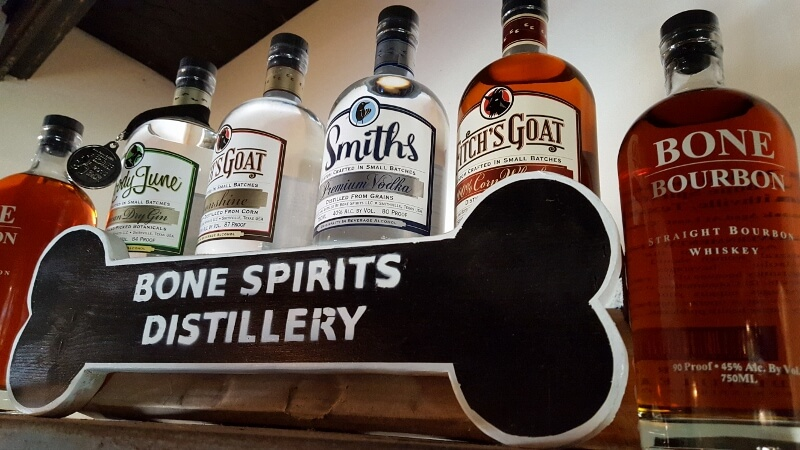 Texas spirits and food - try all the craft spirits at Bone Spirit Distillery in Smithville Texas (photo by Sheila Scarborough)