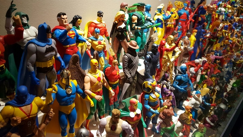 DC Comics characters at the Toy & Action Figure Museum Pauls Valley Oklahoma (photo by Sheila Scarborough)