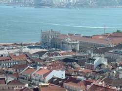 View of Lisbon city and bay from atop Castelo de Sao Jorge
