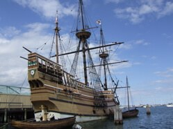 The Mayflower II, replica of the original Mayflower, in Plymouth, Massachusetts
