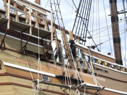 Peering over the Mayflower II in Plymouth, Massachusetts