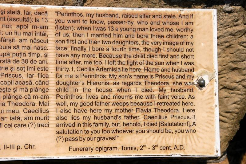 A translation of an ancient Roman grave in Constanta, Romania.