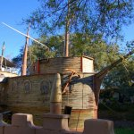 The ship in the moat, seen outside Solomon's Castle, Ona, Florida.