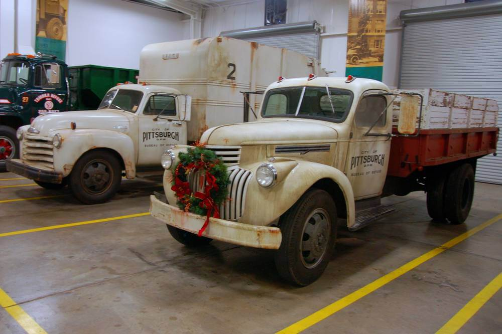 A couple of trucks used in the movie 'Fences' at the Waste Pro Museum in Sanford, Florida.