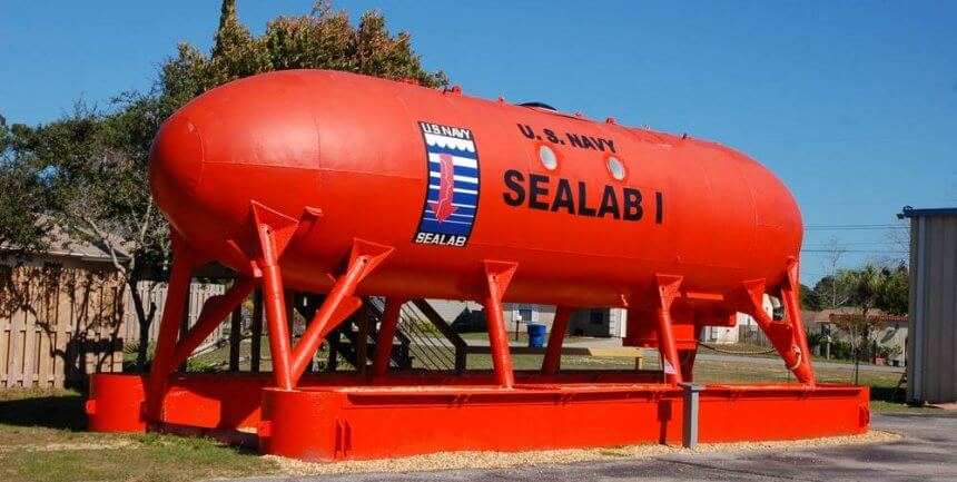 The outside of SEALAB 1 at the Man in the Sea Museum, Florida