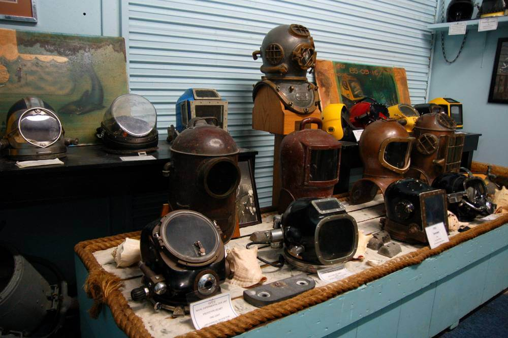 Some diving helmets seen at the Man in the Sea Museum, Florida