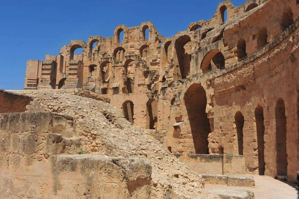 A look at the wall of Tunisia's Roman Coliseum in El Jem.