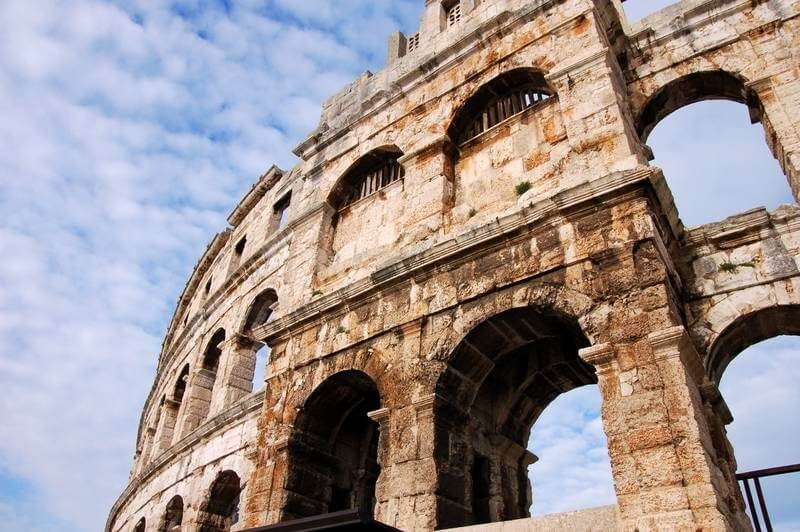 A look at the outside of the Pula coliseum in Pula, Croatia.