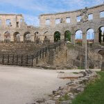 A look at the inside of the Pula coliseum in Pula, Croatia.