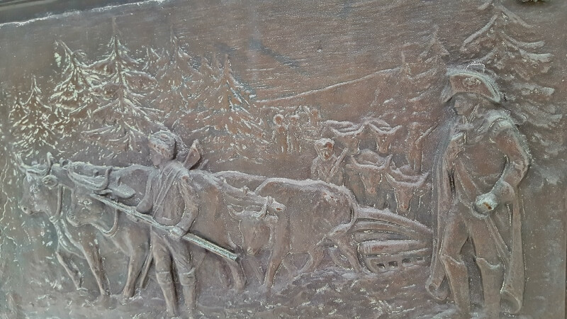 Detail from Knox Trail Marker 9 oxen dragging heavy cannon 300 miles from Ticonderoga to Boston in the Revolutionary War (photo by Sheila Scarborough)