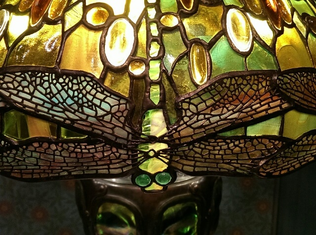 Detail of Tiffany lamp at MFA Boston (photo by Sheila Scarborough)