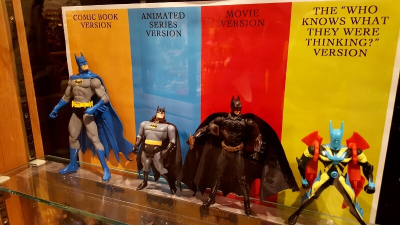 Different ways to imagine Batman at the Toy & Action Figure Museum in Pauls Valley OK (photo by Sheila Scarborough)