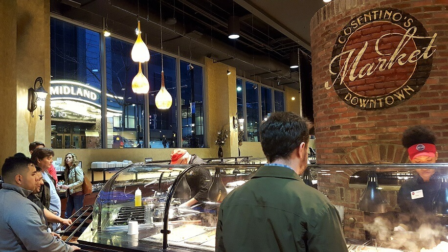 An affordable place to eat in downtown Kansas City MO dinner hour at Cosentinos Market (photo by Sheila Scarborough)