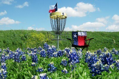 Springtime disc golf at Old Settler's Park (photo courtesy Sheila Scarborough for the Round Rock CVB, The Sports Capital of Texas)
