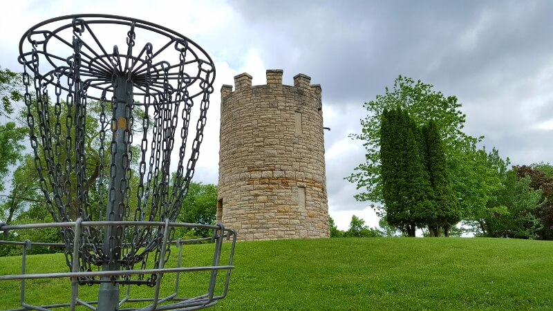Disc golf near an historic water tower in Memorial Park Red Wing Minnesota (photo by Sheila Scarborough)