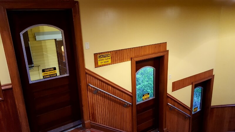 Doors to enter the car at various levels on the Monongahela Incline in Pittsburgh PA (photo by Sheila Scarborough)