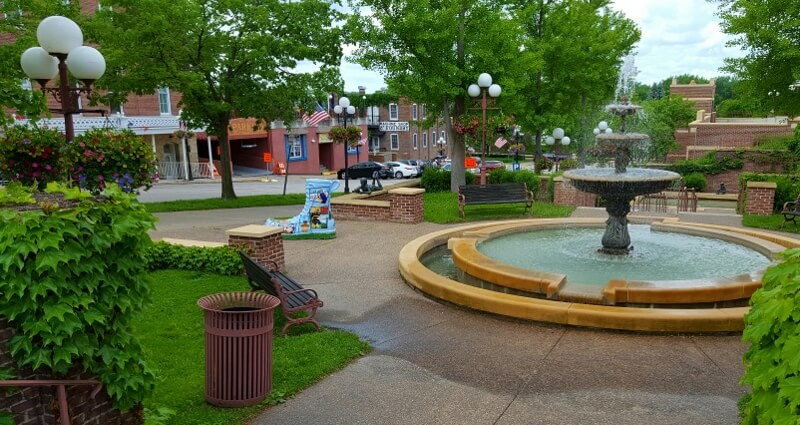 Downtown park in Red Wing MN includes public art boot to honor the Red Wing Shoe company (photo by Sheila Scarborough)