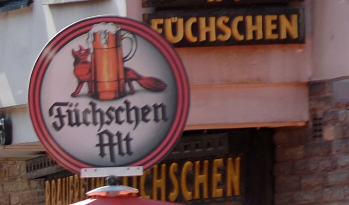 The Brauerei Fuchschen on a tour of the house breweries in the old town of Dusseldorf in Germany