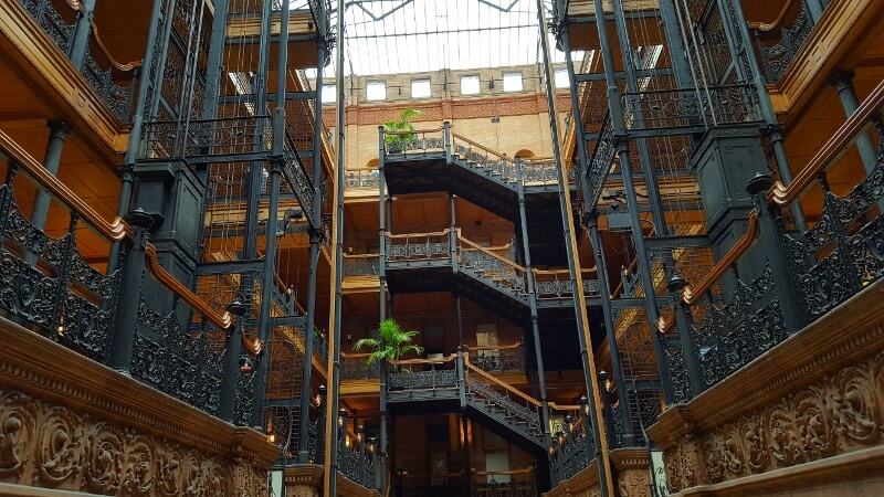 With 3 days in Los Angeles, don't miss the elaborate decorative iron work in the downtown LA Bradbury Building (photo by Sheila Scarborough)
