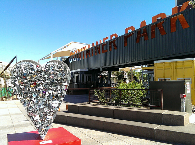 Entrance to the Downtown Container Park, Las Vegas, Nevada (photo by Sheila Scarborough)