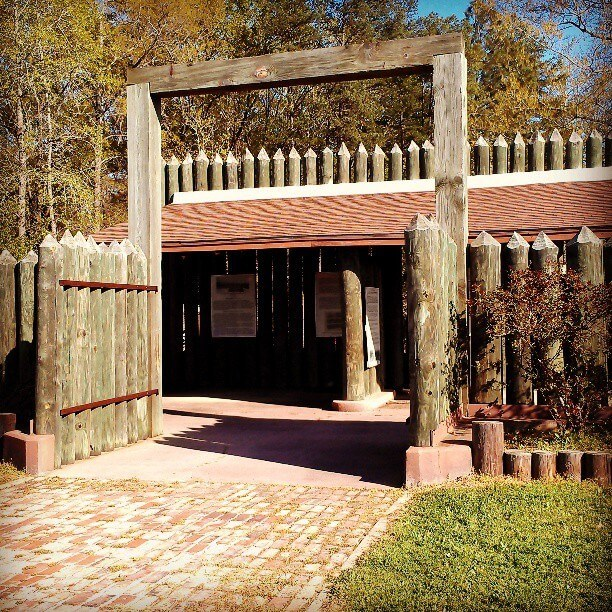 Reconstructed stockade entrance to Camp Ford Civil War historic site in Tyler Texas (photo by Sheila Scarborough)
