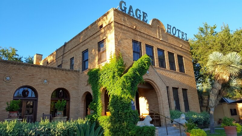 Entrance to the historic Gage Hotel in tiny Marathon, Texas (photo by Sheila Scarborough)