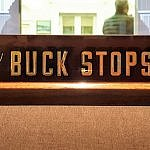 Truman in Independence Missouri the famous Buck Stops Here sign at Truman Library and Museum (photo by Sheila Scarborough)