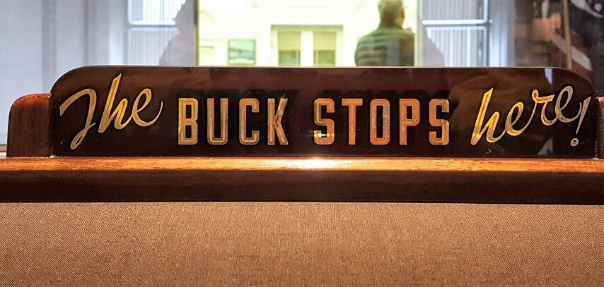 Famous Buck Stops Here sign Truman Library Independence MO (photo by Sheila Scarborough)