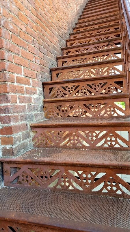 Fancy fire escape on one of the Buchholz Hadler Moeller historic buildings in downtown Red Wing Minnesota (photo by Sheila Scarborough)