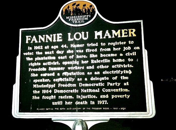 Fannie Lou Hamer historical marker Ruleville Mississippi (photo by Sheila Scarborough)