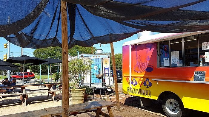 Food trucks by the Brazos River in downtown Waco TX (photo by Sheila Scarborough)