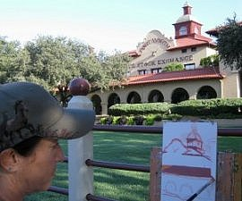 Fort Worth Stockyards plein air painter at Livestock Exchange (photo by Sheila Scarborough)
