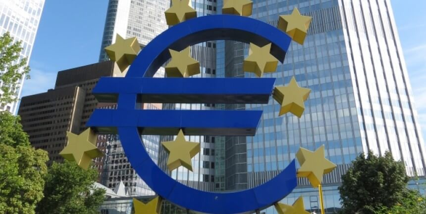 Euro sign outside the European Central Bank, seen on a city tour of Frankfurt