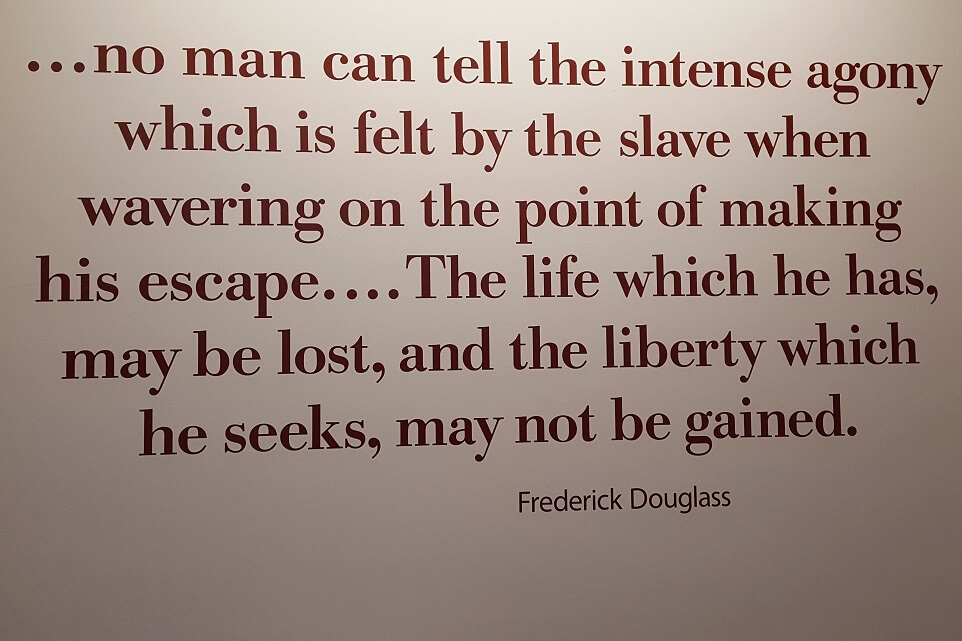 Frederick Douglass quote about slave escape at Levi and Catharine Coffin home Interpretive Center Fountain City Indiana Underground Railroad (photo by Sheila Scarborough)