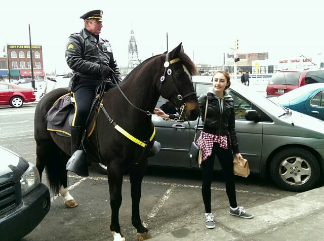 Friendly mounted police officer on the beat near Detroit's Eastern Market (photo by Sheila Scarborough)