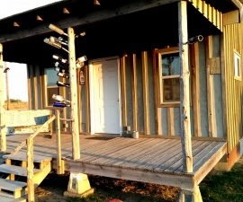 Front of Piedmont Shack at Shack Up Inn in Clarksdale MS (photo by Sheila Scarborough)