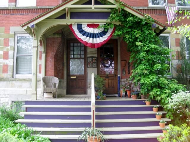 A pair of front porches in the Pullman Historic District, Chicago's Southland area (photo by Sheila Scarborough)