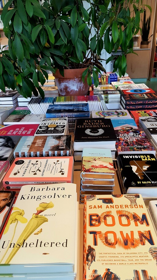 Front table books at Commonplace Books in Oklahoma City (photo by Sheila Scarborough)