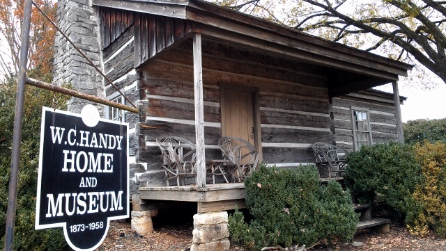 Front view WC Handy Birthplace, Museum, and Library in Florence Alabama (photo by Sheila Scarborough)