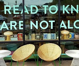 Front window at Commonplace Books in Oklahoma City (photo by Sheila Scarborough)