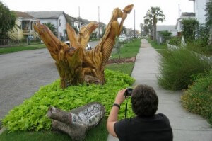 Galveston tree sculptures dolphins and mermaid (photo by Sheila Scarborough)